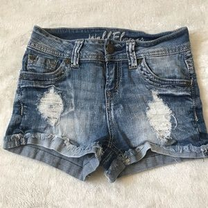 distressed cuffed denim shorts | size: 0/1